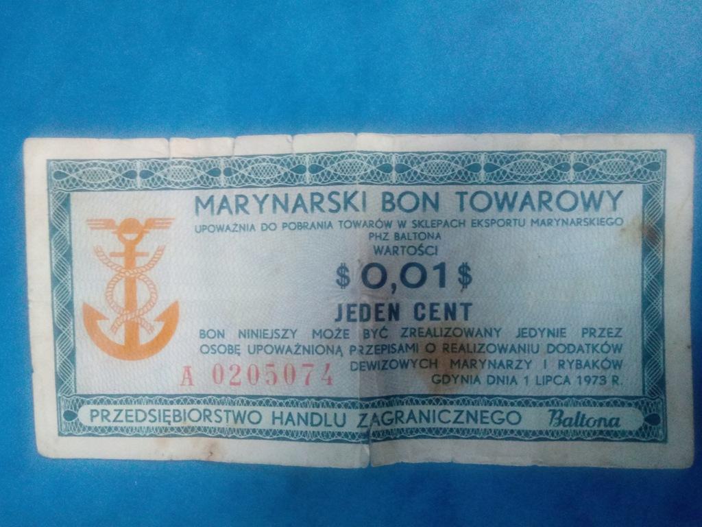 Marynarski bon towarowy 0,01$