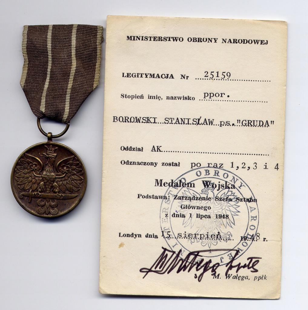 Medal Wojska + legitymacja Armia Krajowa