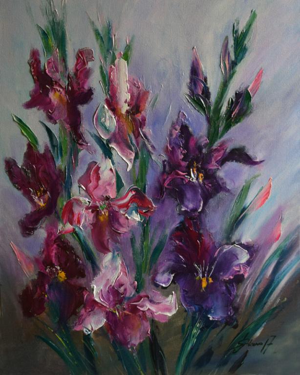 gladiole obraz olejny Joanna Setkowicz