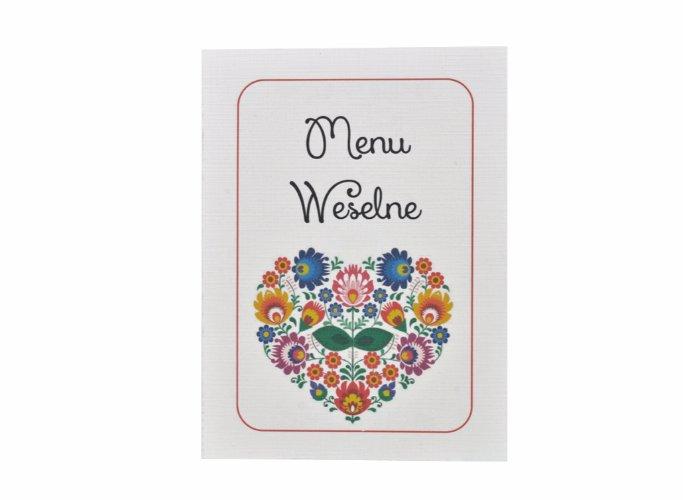ludowe otwierane menu weselne, ślubne, serce folk