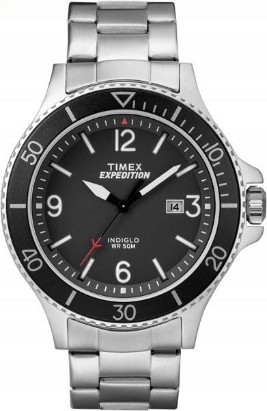 Zegarek męski bransoleta czarna tarcza Timex