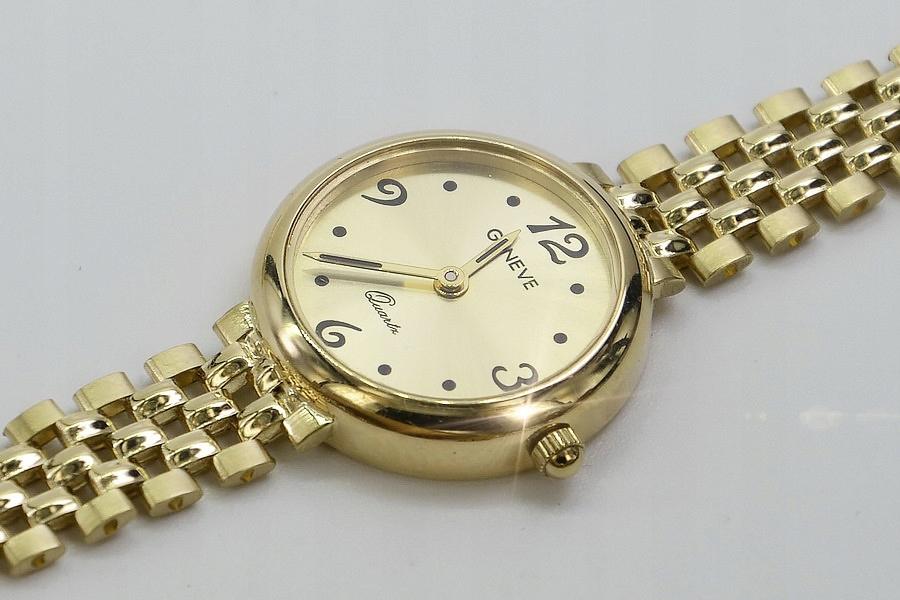 Złoty zegarek damski 14k żółte złoto Geneve 585