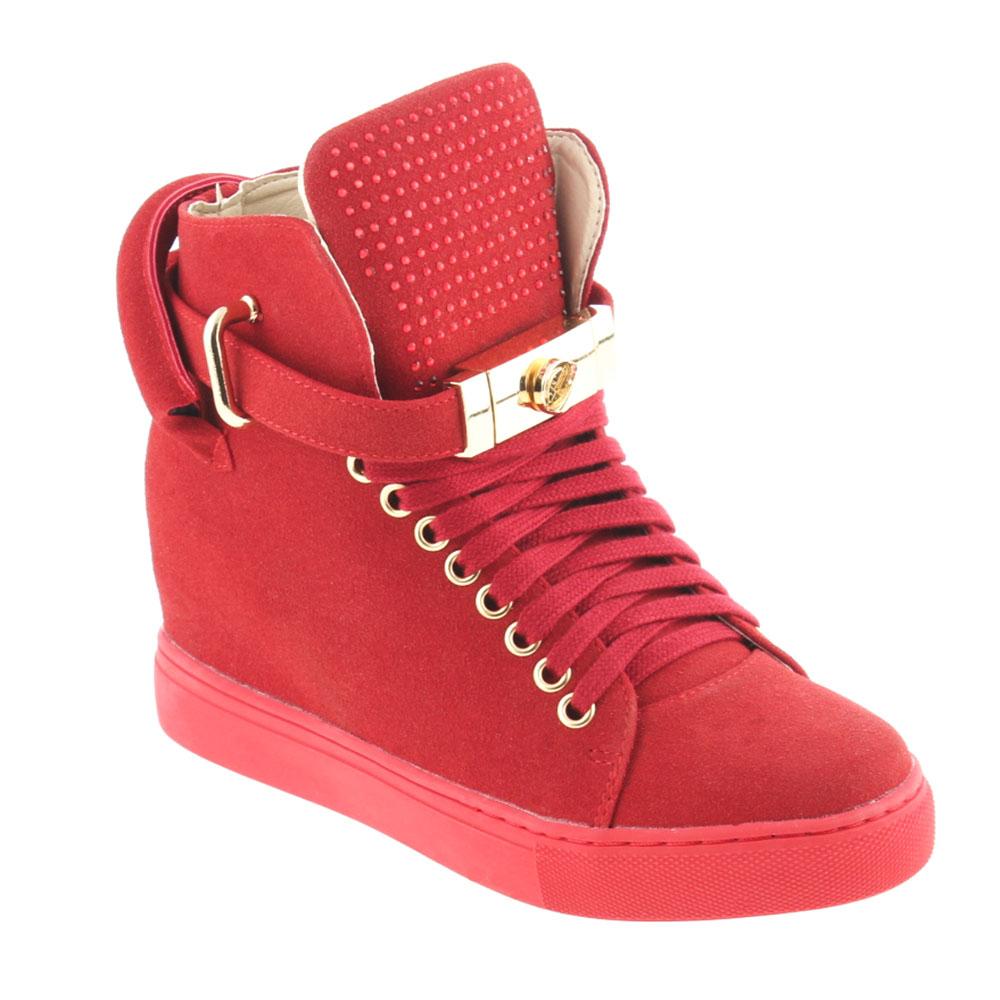 lu boo trampki sneakersy na koturnie klodka czerwone