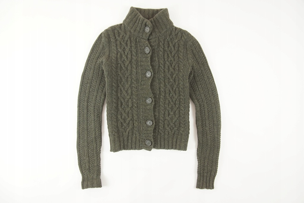 BENETTON - ROZPINANY SWETER 100% WEŁNA - M/L