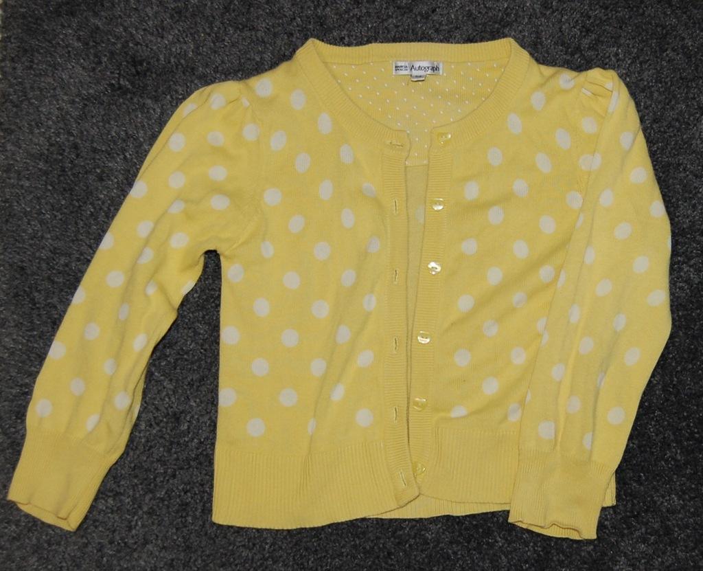 Sweterek żółty w białe kropki, zapinany. Rozm. 116