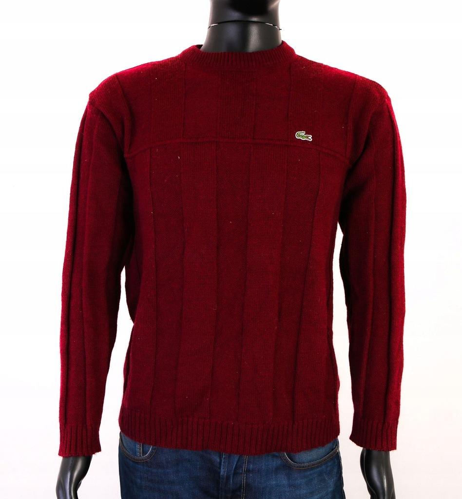 *X Lacoste Sweter Męski Wełniany Bordowy roz M