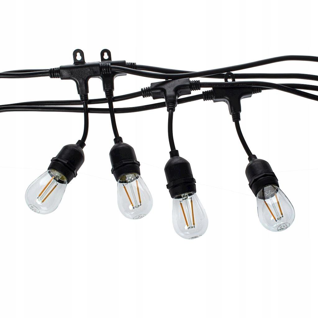 Girlanda Ogrodowa łańcuch 15m +żarówki LED 1,5W