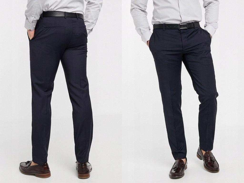Calvin Klein Granatowe spodnie eleganck 44