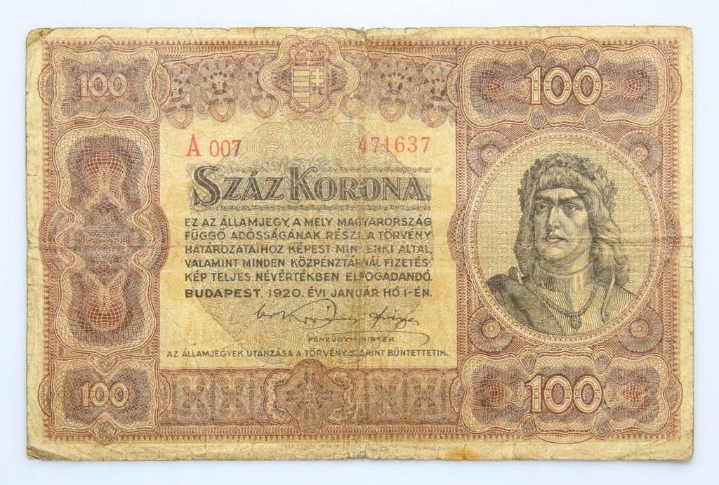 BANKNOT - Węgry - 100 Koron 1920