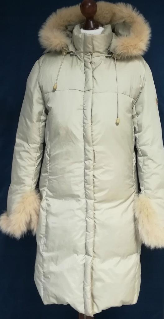 Tiffi płaszcz puch naturalny futerko naturalne r.S