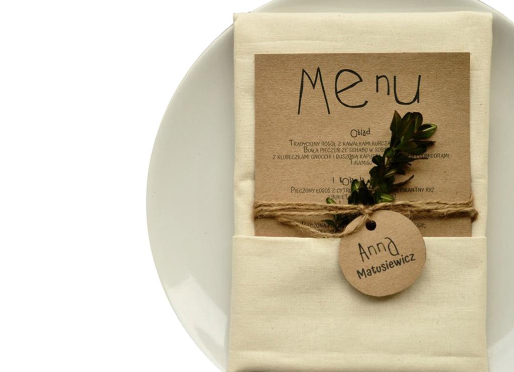 Menu weselne+winietka ślubne na stół dekoracja eko
