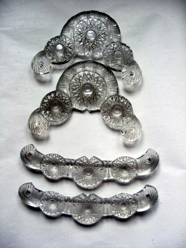 Dekoracje kryształowe do lustra przedwojenne.