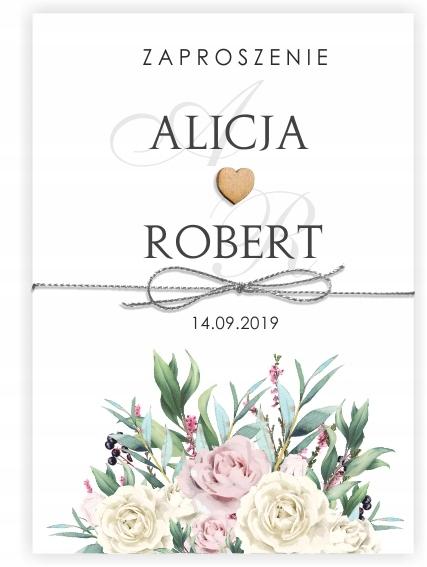 ślubne ZAPROSZENIA NA ŚLUB Kwiaty Liście Róże BOHO
