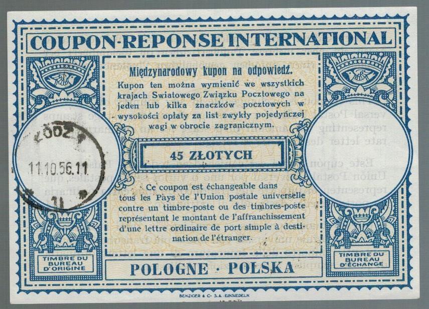 Polska 1956 IRC Międzynarodowy kupon odpowiedź