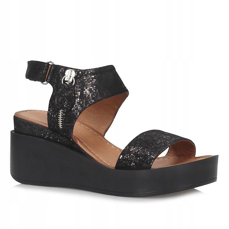 sandały Venezia 0414 czarny+srebro | Buty damskie sandały