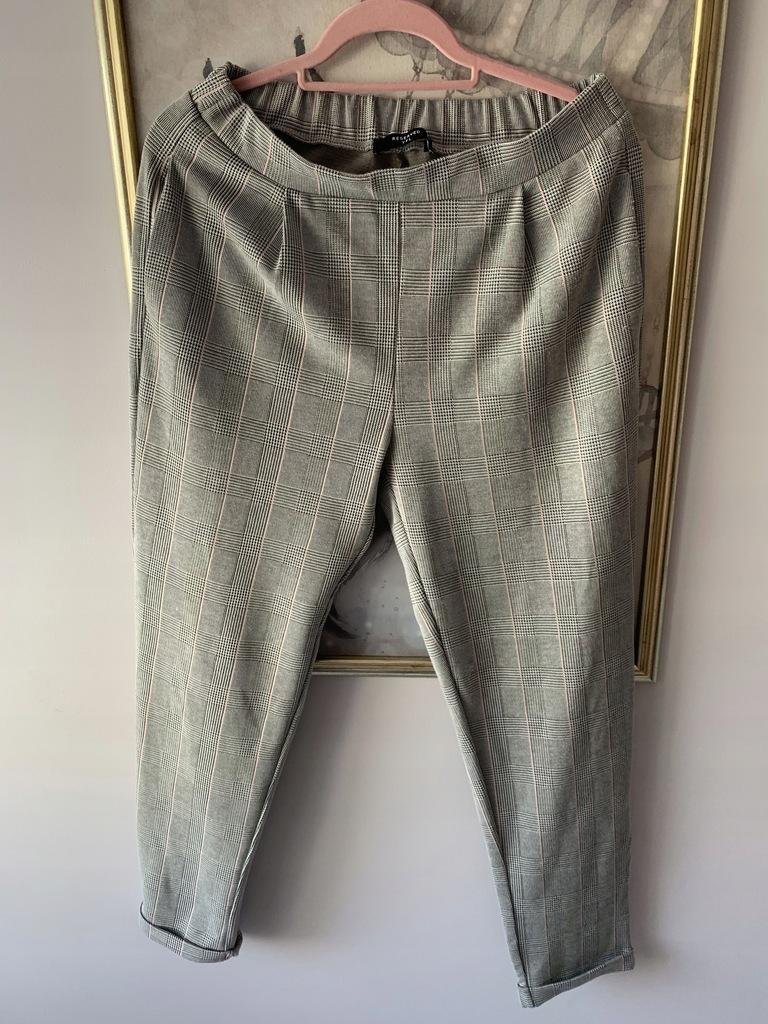 Reserved SZARE spodnie w kratkę L 40 joggersy