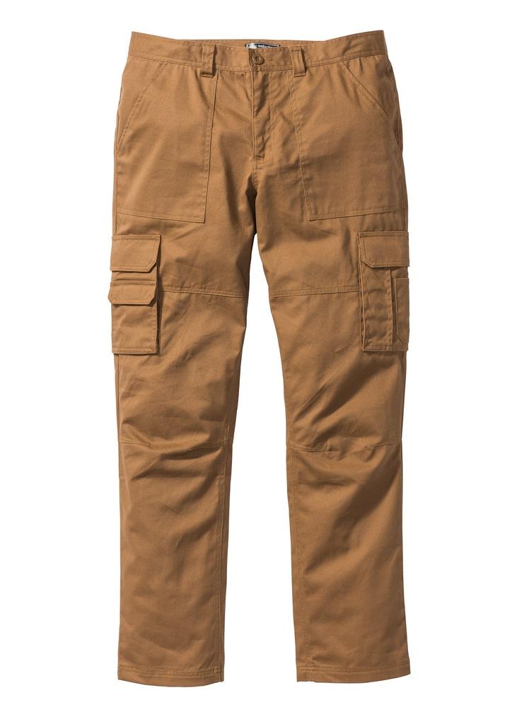 Spodnie męskie bojówki brązowe bonprix 52