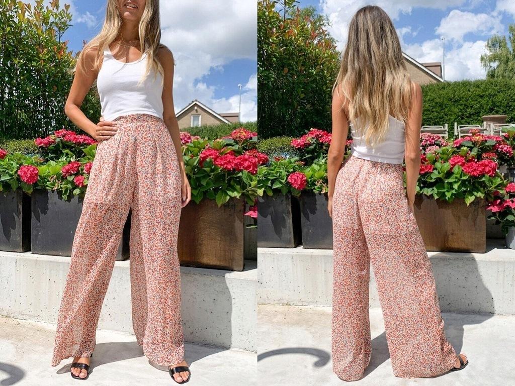 New Look Szyfonowe wzorzyste spodnie 42/XL