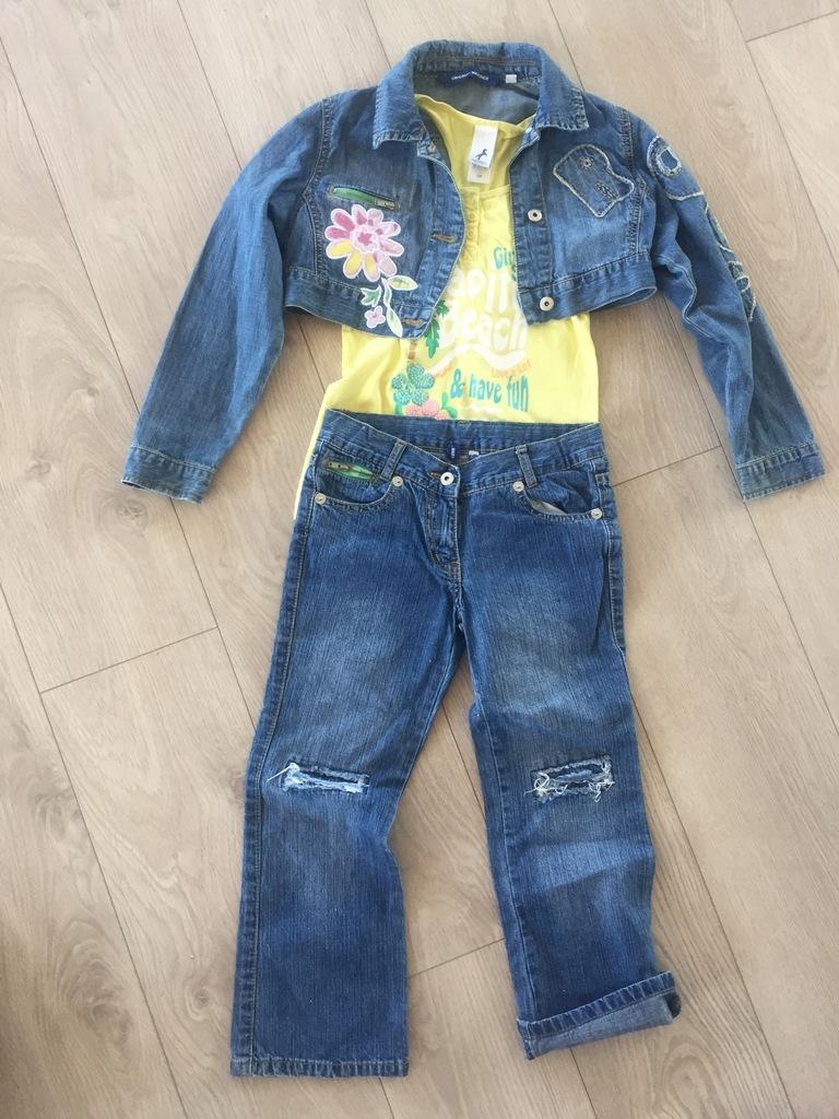 Komplet jeansowy krótka kurtka i spodnie 8-10 lat