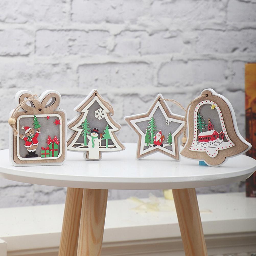 3PCS Christmas Glowing Wooden Pendant LED Mini Han
