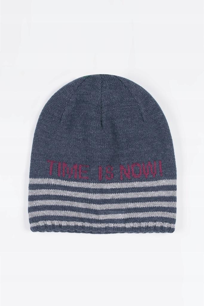 Granatowa czapka chłopięca z napisem 50