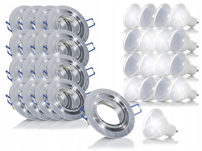 17x Okrągła ramka halogen oprawka+żarówka LED 7,5W