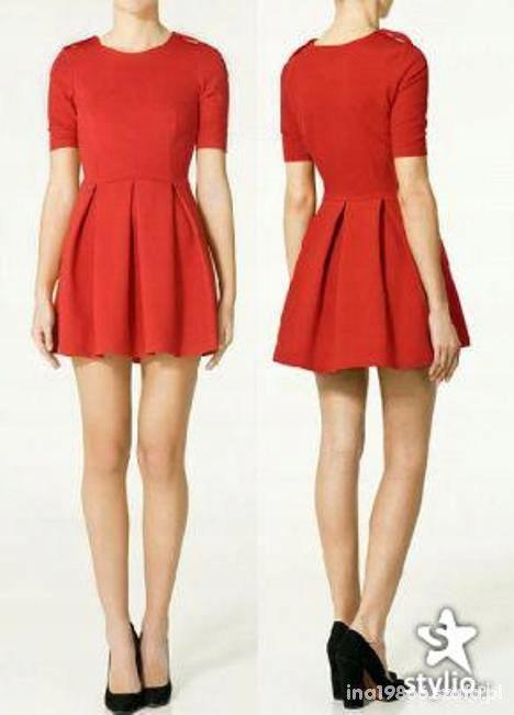 Sukienka ZARA czerwona rozkloszowana M 38