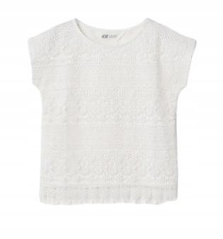 H&M bluzka top biały koronkowy 134/140