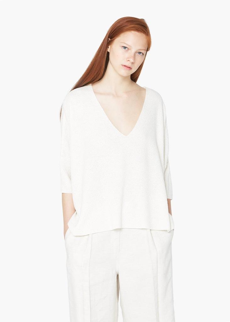 MANGO pleciony sweterek bluzka ecru one size