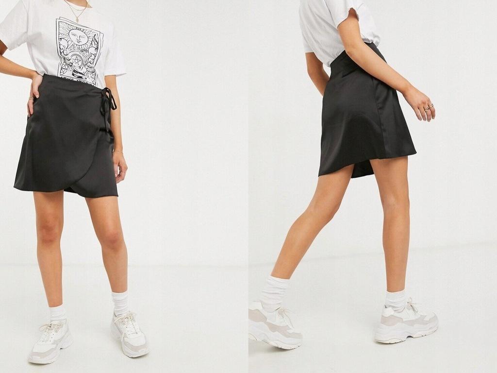 New Look Czarna kopertowa spódnica mini z satyny L