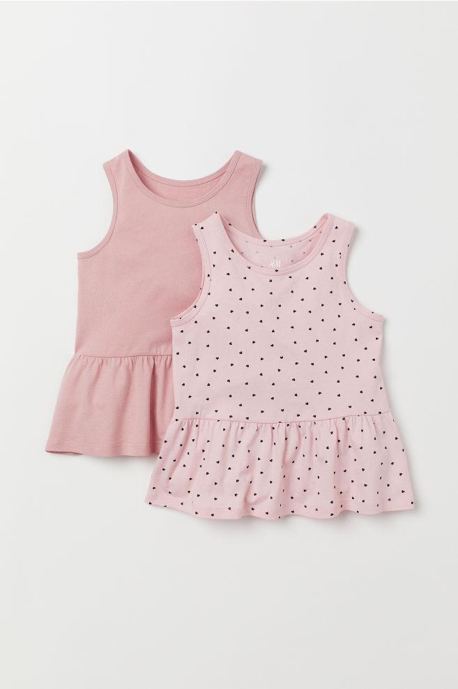 H&M dżersejowy top 2-pak H&M róż 122/128