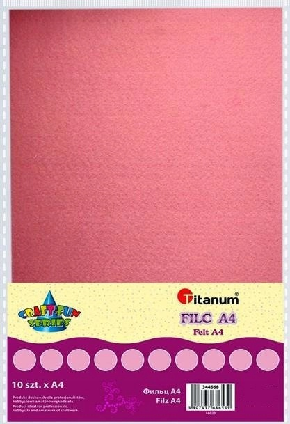 Filc dekoracyjny, 10ark format A4 j.róż, CRAFT-FUN