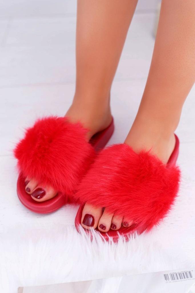 Klapki Damskie Z Futerkiem Czerwone Fur 37