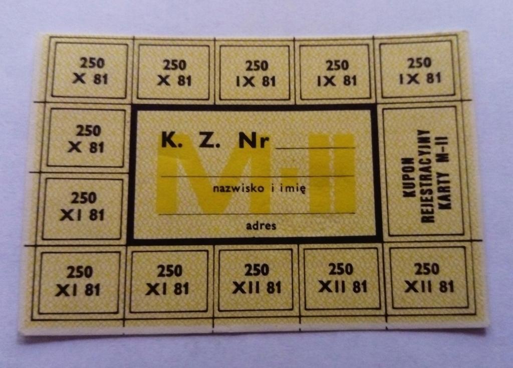 KARTKA ZAOPATRZENIOWA Z PRL - MII IX-XII 81