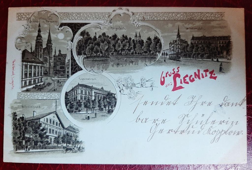 Pocztówka Gruss aus Liegnitz - Legnica 1899 r