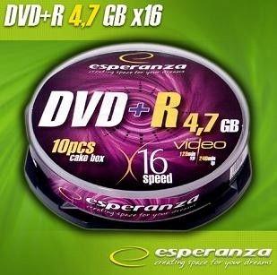 ESPERANZA 1117 - DVD+R cake box 10 | 4.7GB | 16x