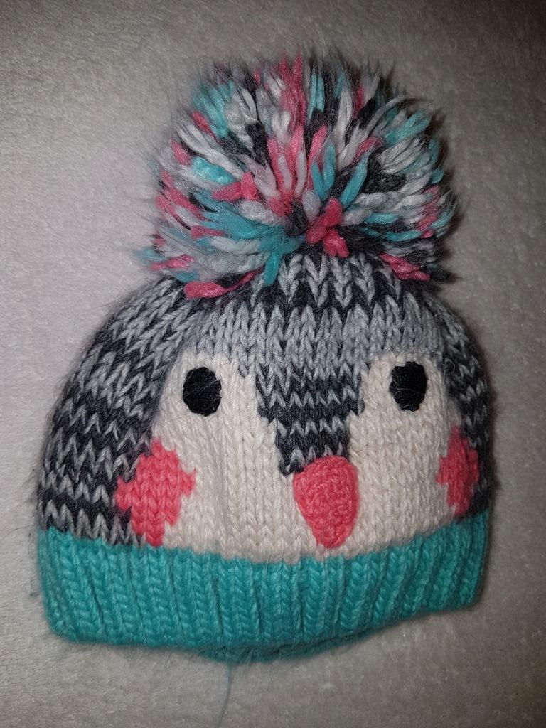 NEXT ciepła zimowa czapka pingwin 3-9 m-cy