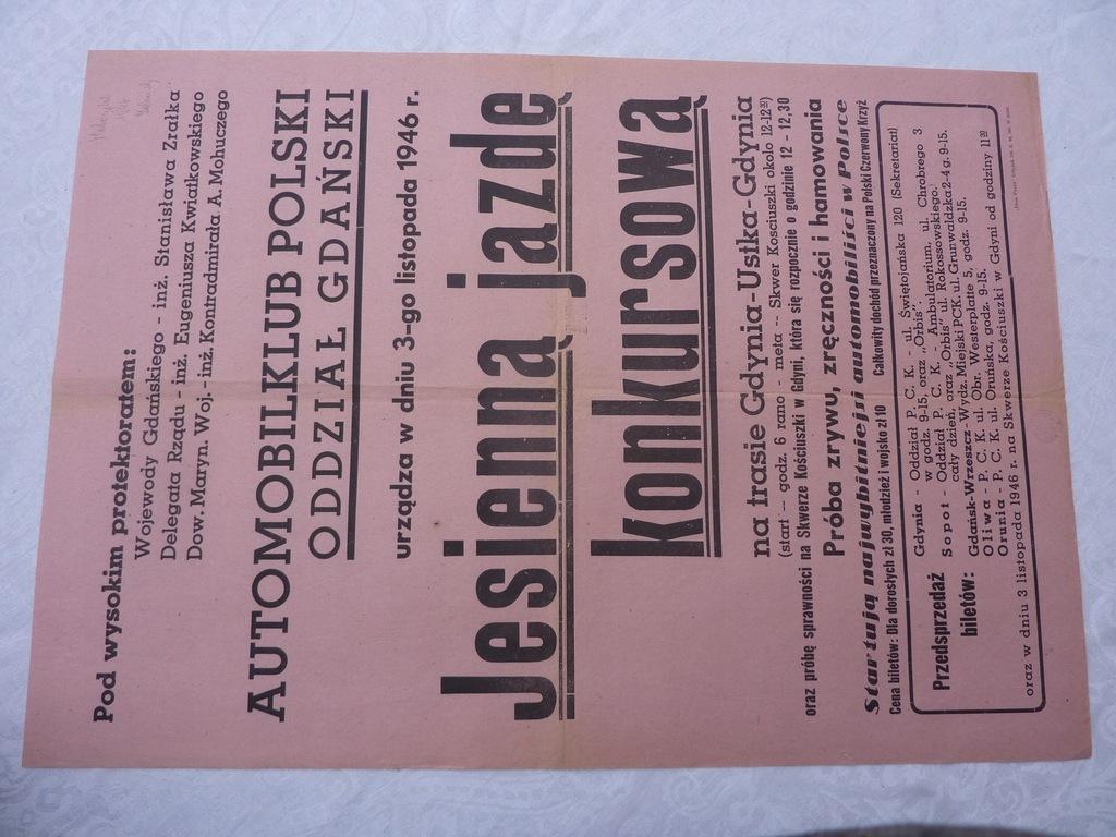 GDAŃSK AUTOMOBILKLUB GDYNIA USTKA GDYNIA 1946