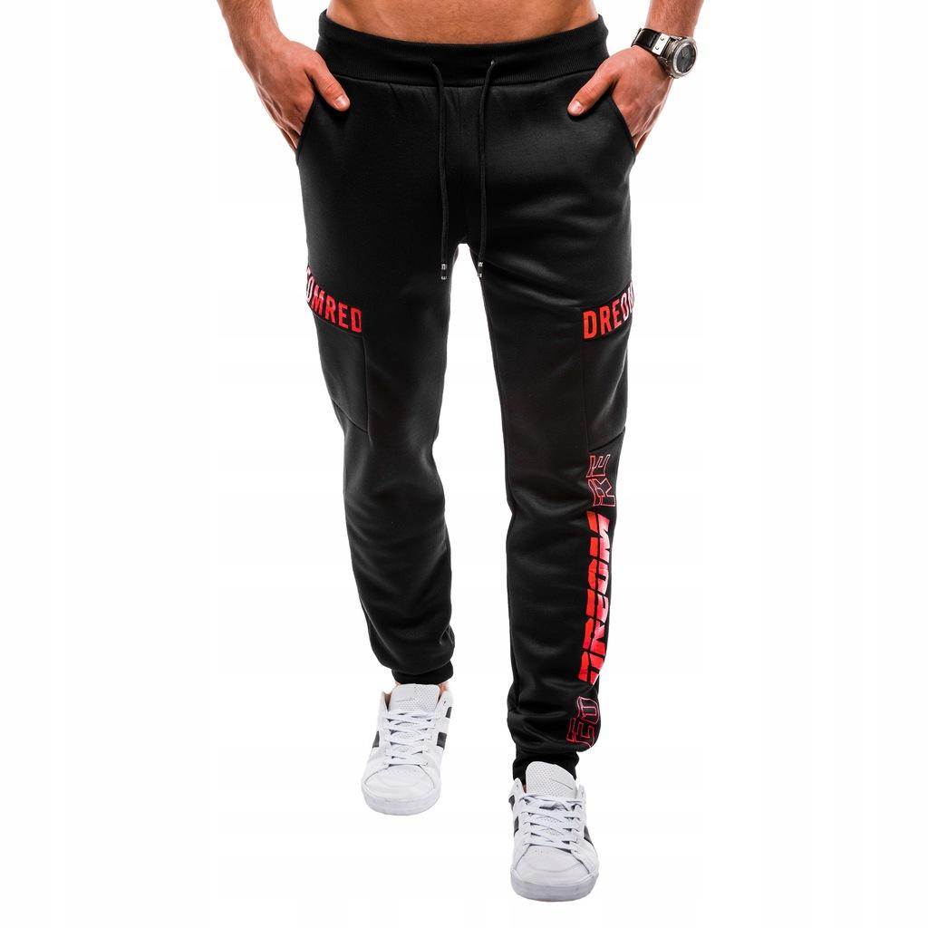 Spodnie dresowe męskie print sport czarne 819P L