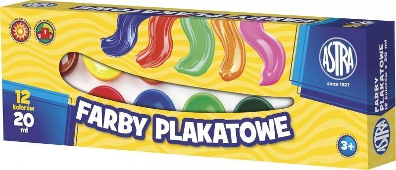 Farby plakatowe 12 kolorów 20ml ASTRA