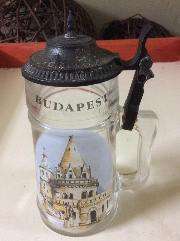 Kufel szklany z deklem Budapeszt Budapest