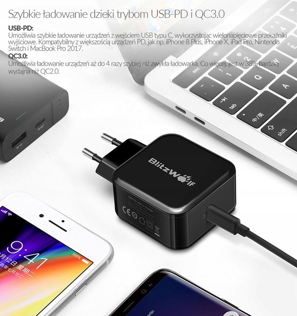 BlitzWolf BW S10 Ładowarka sieciowa USB C PD QC 7547400284