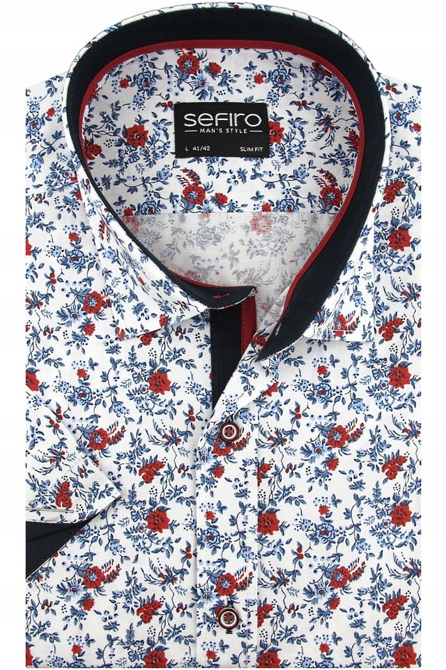 Koszula Męska Sefiro biała w kwiaty SLIM FIT K910  1MmSe