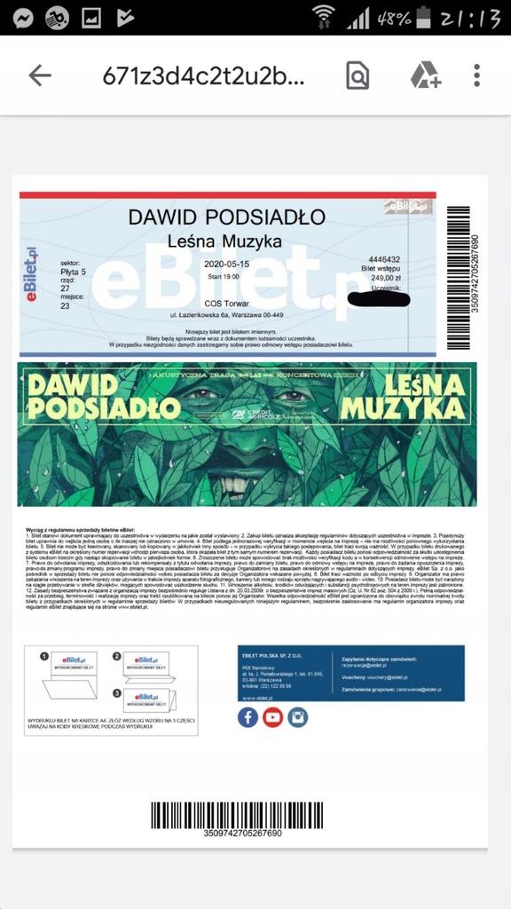 Bilet Dawid Podsiadlo Lesna Muzyka 8552354781 Oficjalne Archiwum Allegro