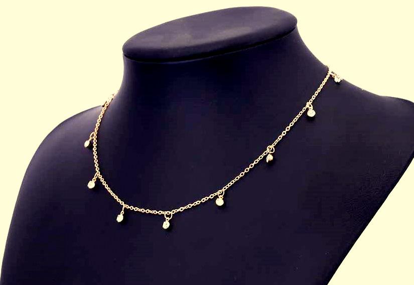 Naszyjnik z Koralikami z Kryształów Górskich złoty