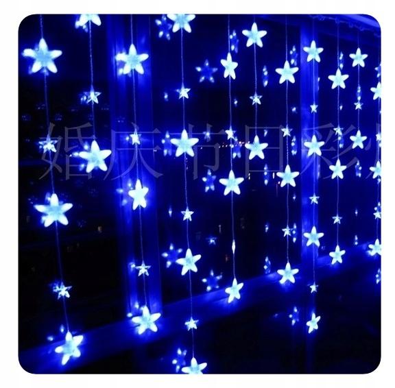 Kurtyna Led Wiszace Gwiazdki Lampki Sople Niebiesk 8564108320 Oficjalne Archiwum Allegro