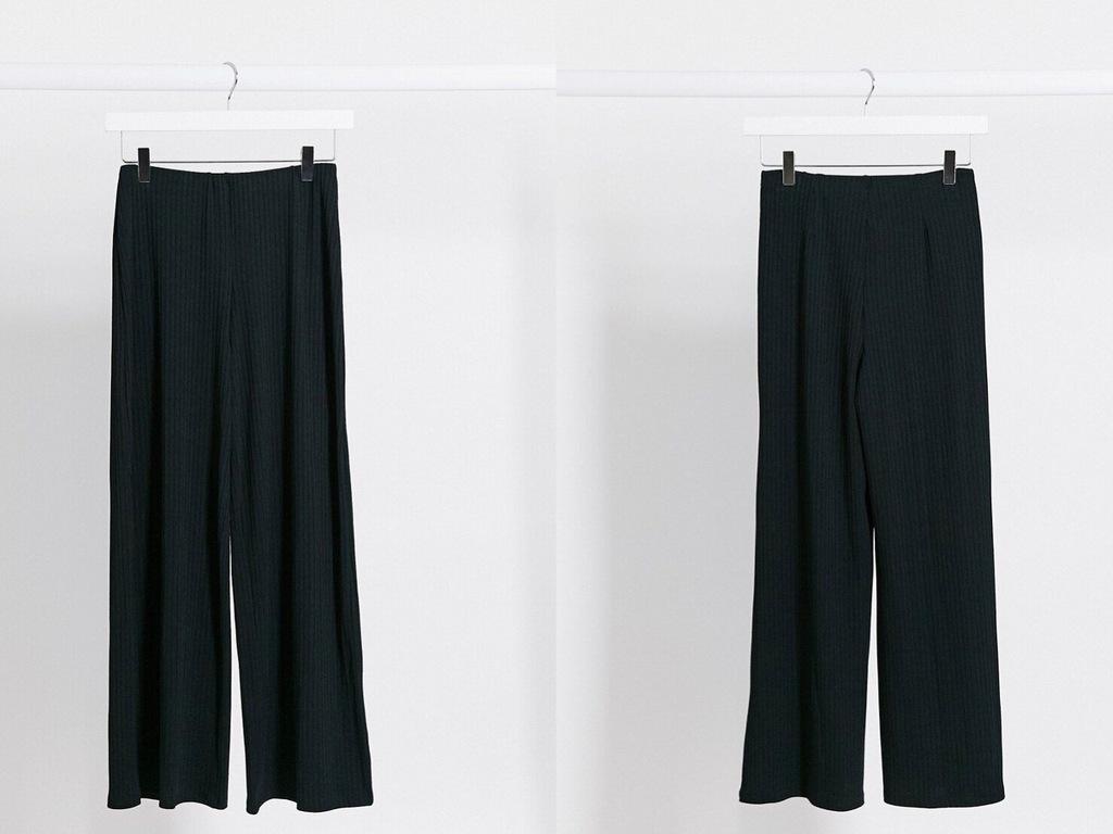 New Look Czarne Prążkowane Spodnie 7/8 S/36