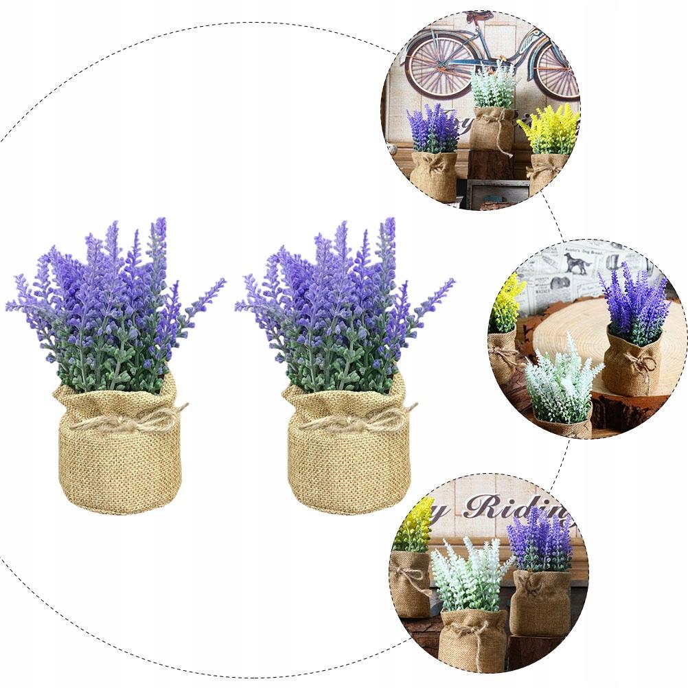 2 sztuk małe juta doniczkowe kwiaty lawendy roślin