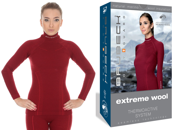 BRUBECK Bluza na narty Extreme Wool LS11930 S Red