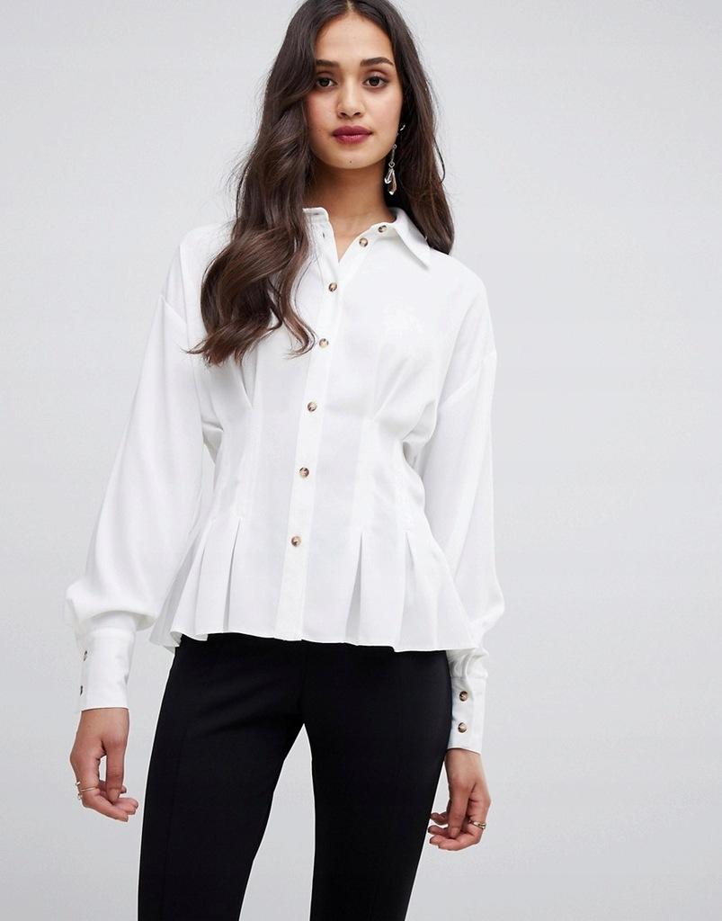 D19 Miss Selfridge Biała Koszula na zakładkę M 38
